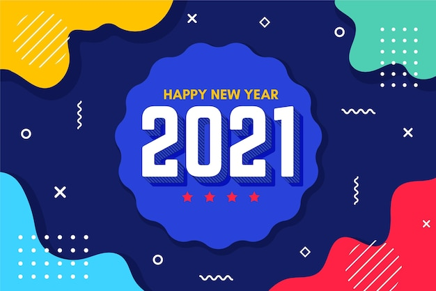 Flat design new year 2021 background Free Vector