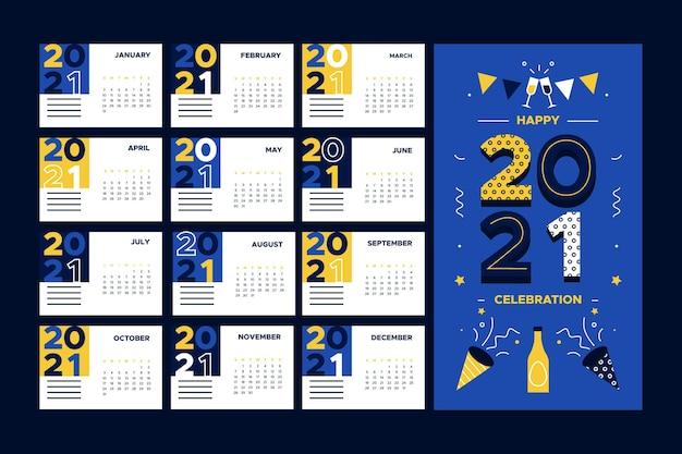 Плоский дизайн новогоднего календаря 2021 года Premium векторы