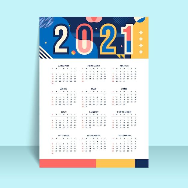 평면 디자인 새 해 2021 달력 서식 파일 프리미엄 벡터