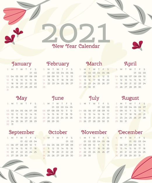 Flat design new year 2021 calendar template Premium Vector