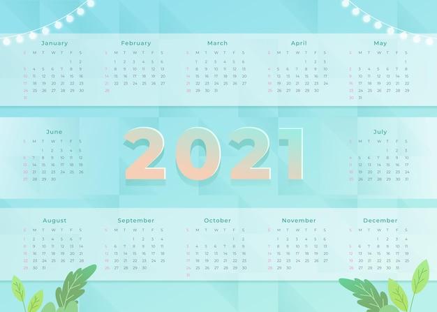 평면 디자인 새해 2021 달력 무료 벡터