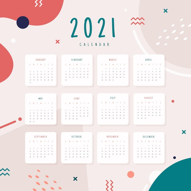 Flat design new year 2021 calendar Premium Vector