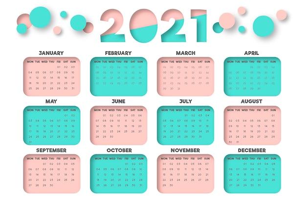 Плоский дизайн новогодний календарь на 2021 год Premium векторы