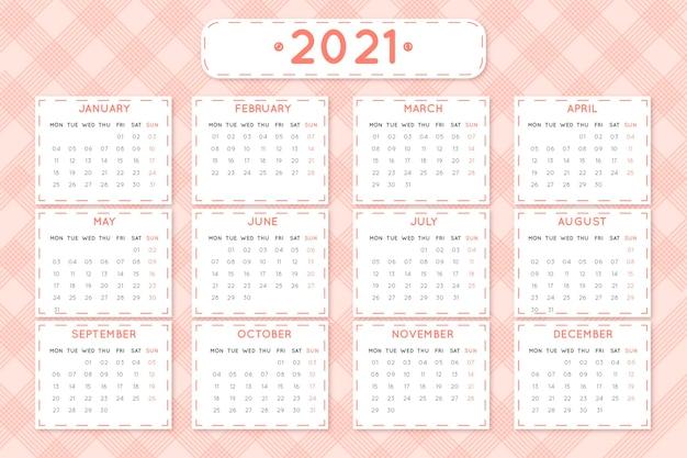 평면 디자인 새해 2021 달력 프리미엄 벡터