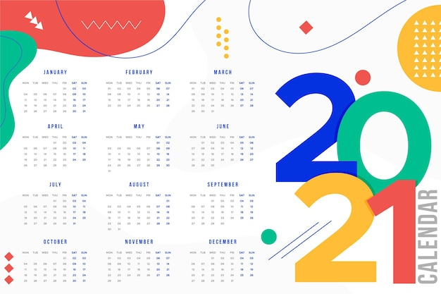 Flat design new year 2021 calendar Premium Vector