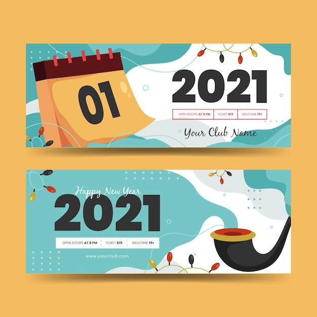 Flat design new year 2021 party banners template Free Vector
