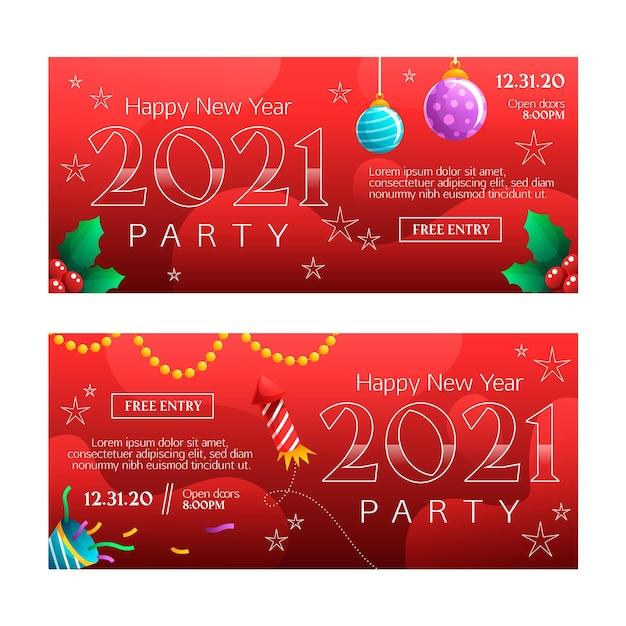 Modello di banner festa di nuovo anno 2021 design piatto Vettore gratuito