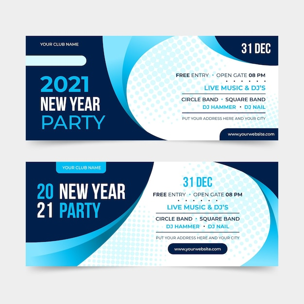 Flat design new year 2021 party banners Free Vector