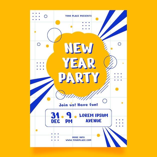 Плоский дизайн шаблона плаката вечеринки новый год 2021 Бесплатные векторы