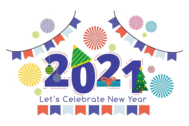 Flat design new year 2021 Free Vector
