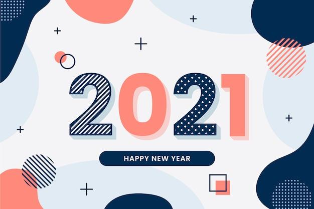 フラットなデザインの新年の背景 Premiumベクター