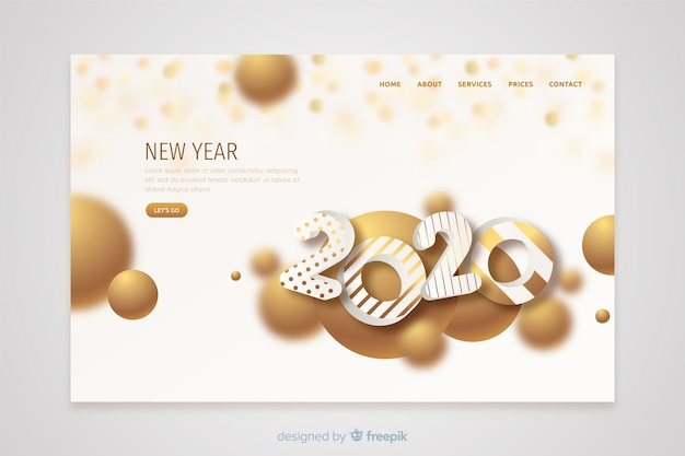 Flat design new year landing page template Free Vector