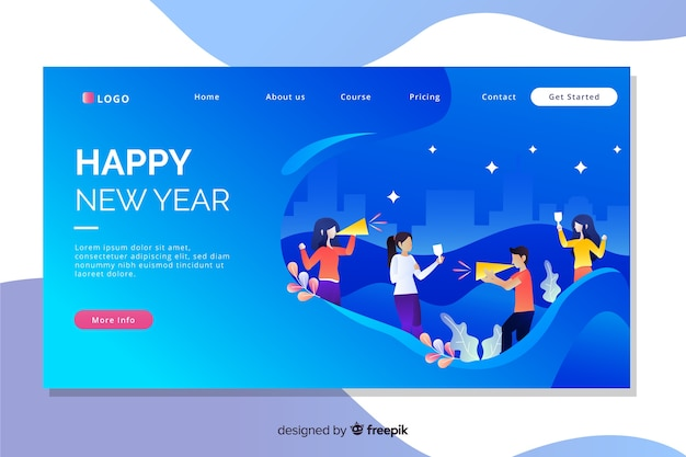 Flat design of new year landing page Free Vector