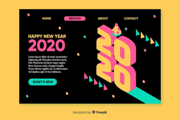 Flat design new year landing page Free Vector