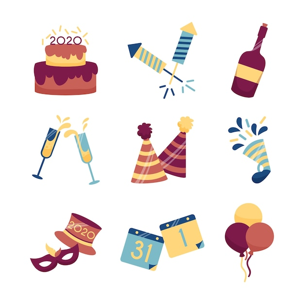 Flat design new year party element collection Free Vector