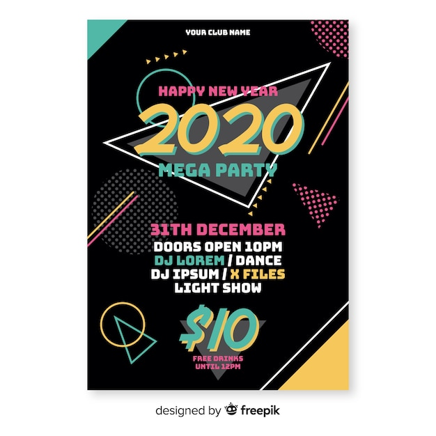 Flat design new year party poster template Free Vector