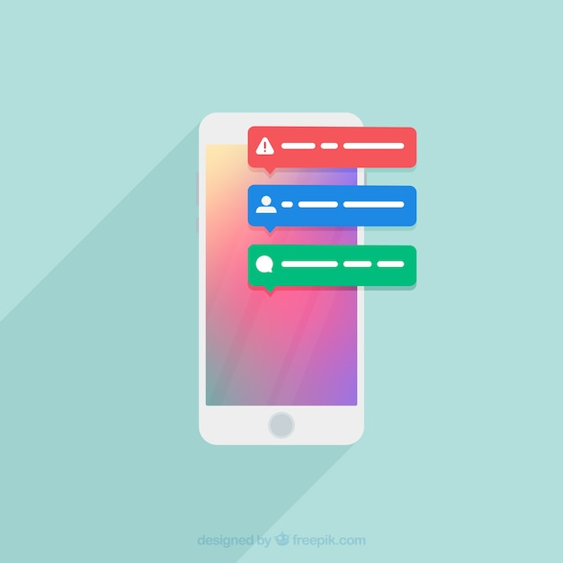 Flat design notification Free Vector