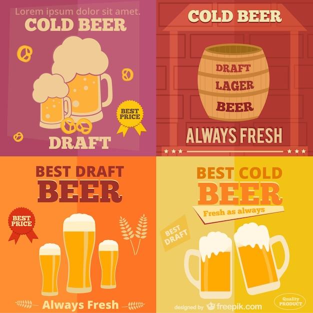 Flat design of beer ads Free Vector