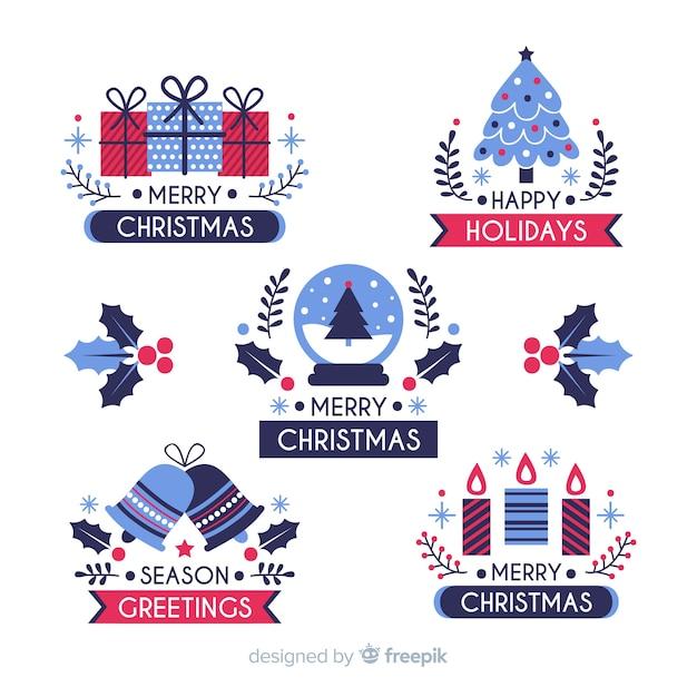 Плоский дизайн рождественской коллекции этикеток Бесплатные векторы
