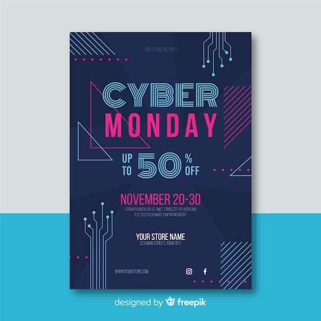 Плоский дизайн шаблона кибер понедельник флаер Бесплатные векторы