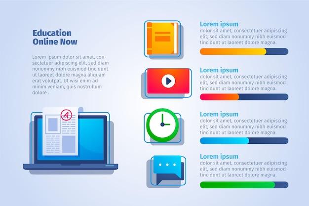 グラデーション教育インフォグラフィックのフラットなデザイン Premiumベクター