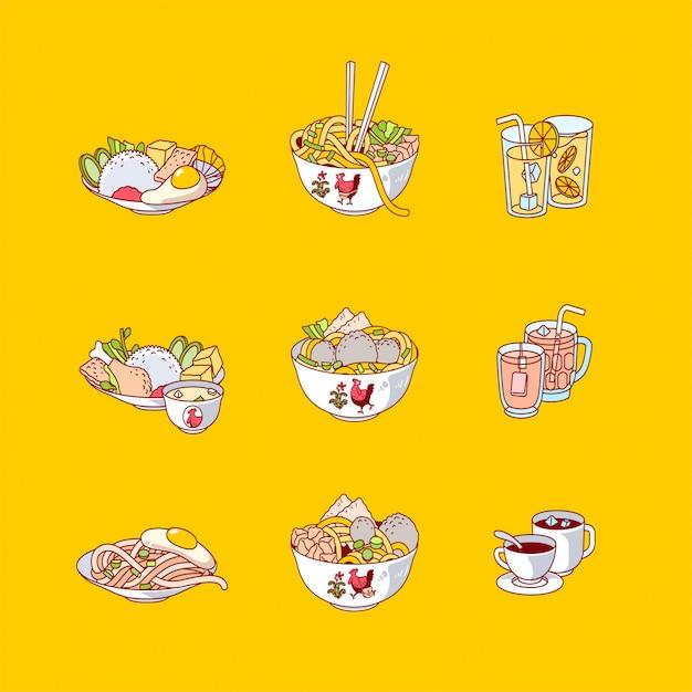 インドネシアの食べ物や飲み物のアイコンベクトル図のフラットなデザイン Premiumベクター