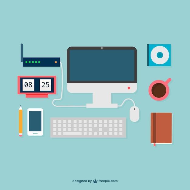 Flat design office supplies graphics Free Vector