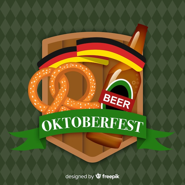 Flat design oktoberfest background with beer Free Vector