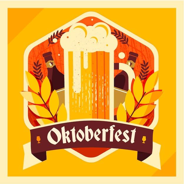 Плоский дизайн октоберфест фон с пивом Бесплатные векторы