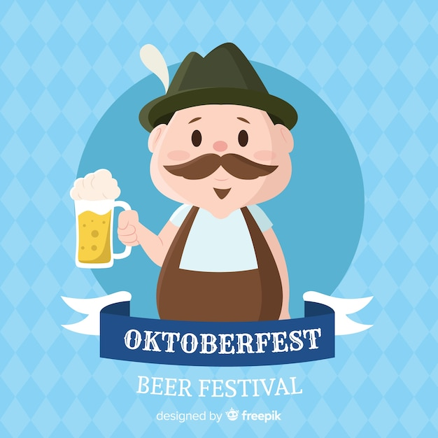 Flat design oktoberfest background with character Free Vector