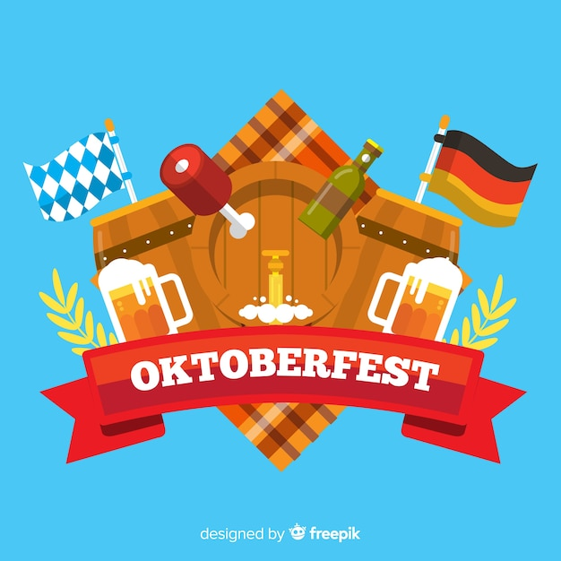 Flat design oktoberfest background with elements Free Vector