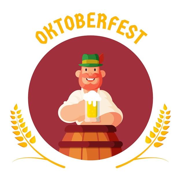 Design piatto sfondo più oktoberfest con l'uomo Vettore gratuito