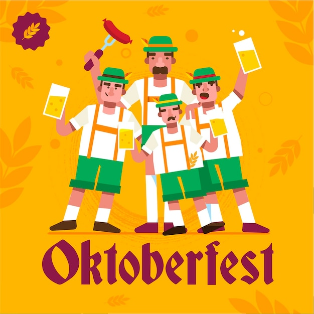 Flat design oktoberfest background with men Premium Vector
