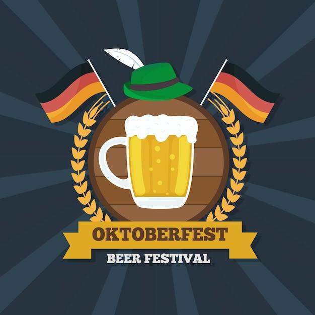 Design piatto sfondo più oktoberfest con pinta e bandiere Vettore gratuito