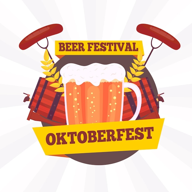 Flat design oktoberfest background with pint and wursts Free Vector
