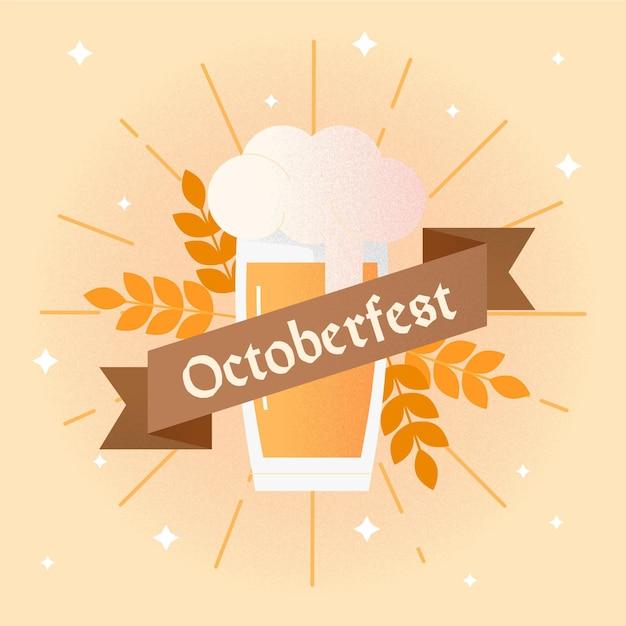 Design piatto sfondo più oktoberfest con pinta Vettore gratuito