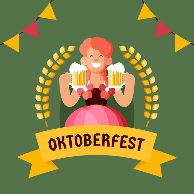 Flat design oktoberfest background with woman Free Vector