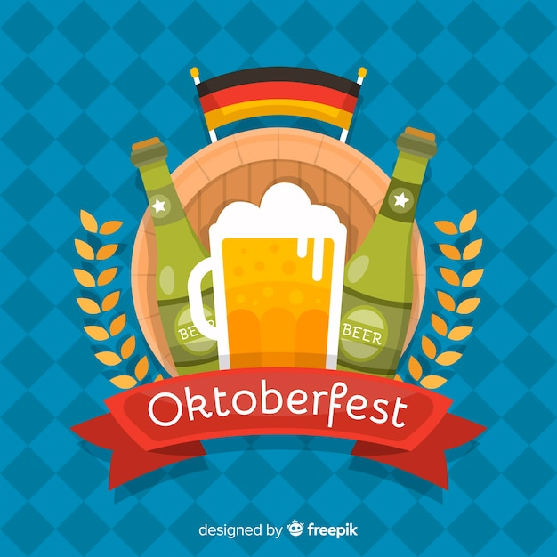 Flat design oktoberfest background Free Vector