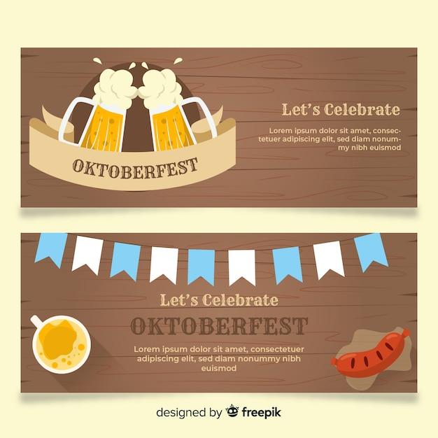 Flat design oktoberfest banner templates Free Vector