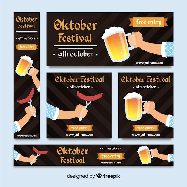 Flat design oktoberfest banners template Vector | Free Download