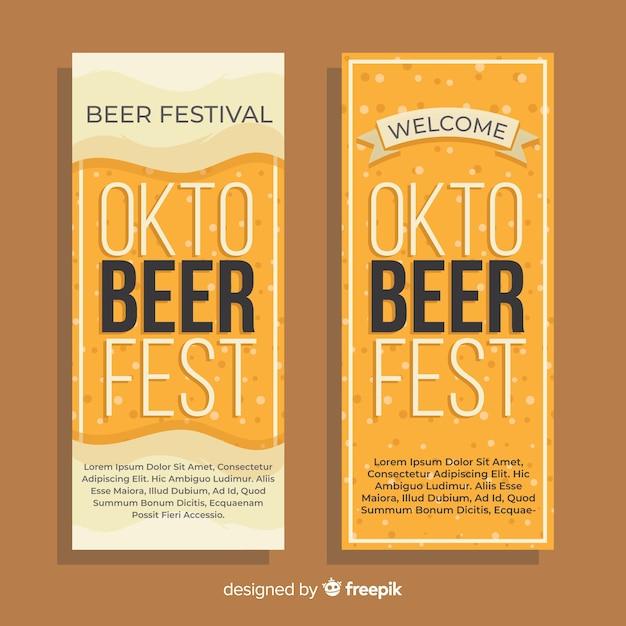Flat design oktoberfest banners template Free Vector
