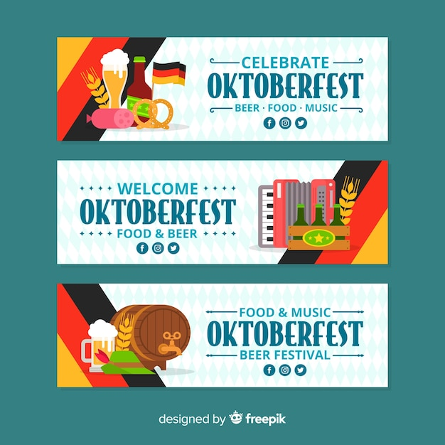 Flat design oktoberfest banners with beer Free Vector