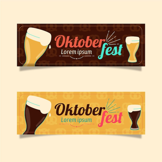 Banner oktoberfest design piatto Vettore gratuito