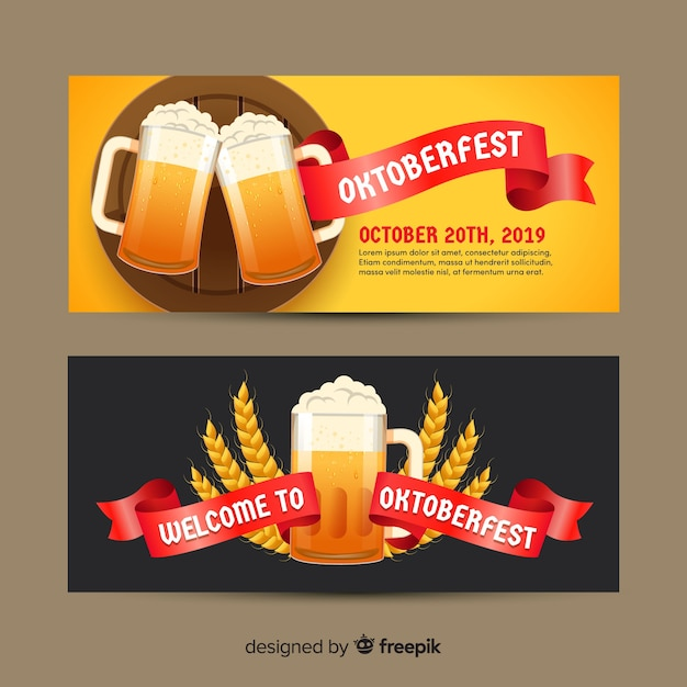 Flat design oktoberfest beer banners Free Vector