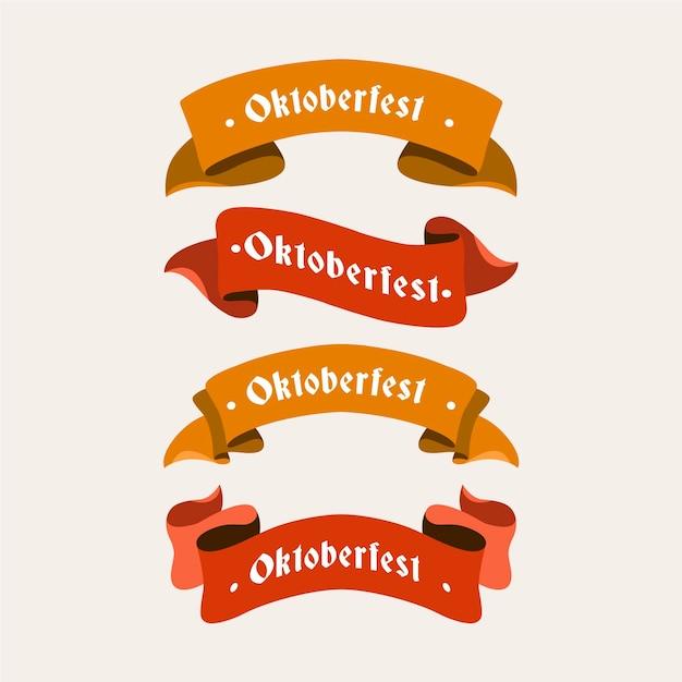 フラットなデザインのオクトーバーフェストビールフェスティバルの赤とオレンジのリボン 無料ベクター