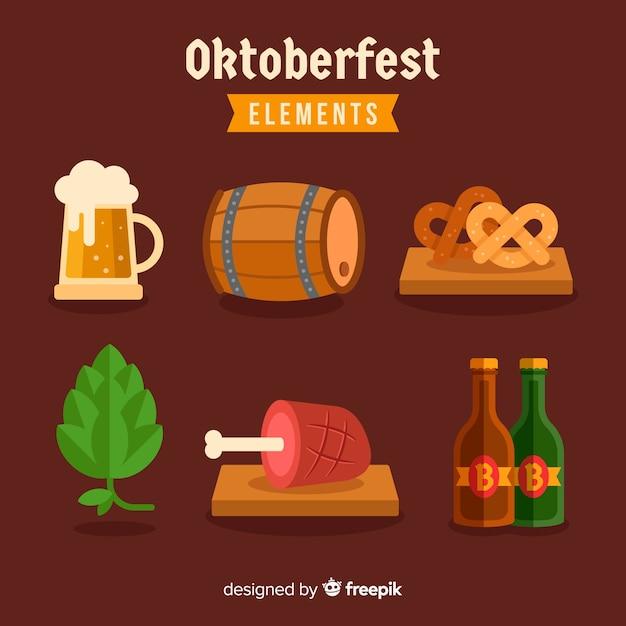 Flat design oktoberfest element collection Free Vector