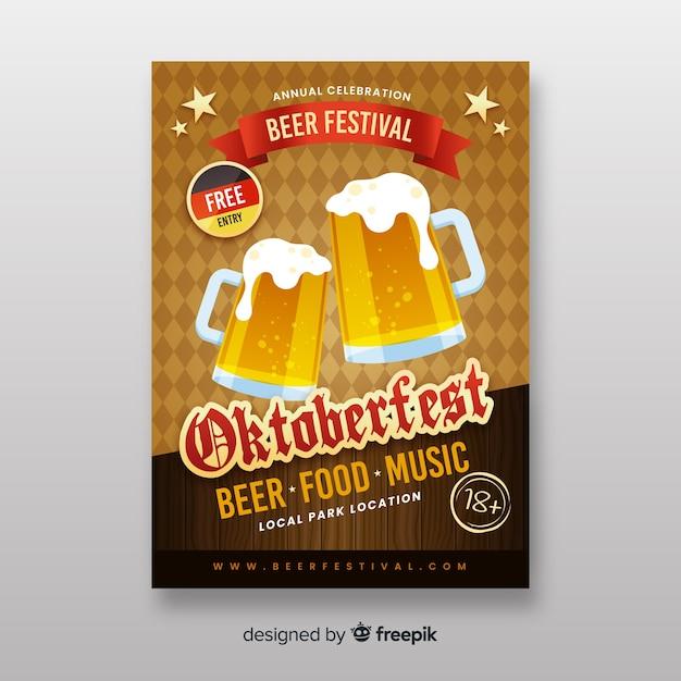 Flat design oktoberfest flyer templates Vector | Free Download