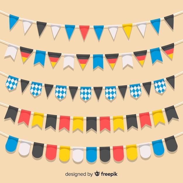 Collezione di ghirlande oktoberfest dal design piatto Vettore gratuito