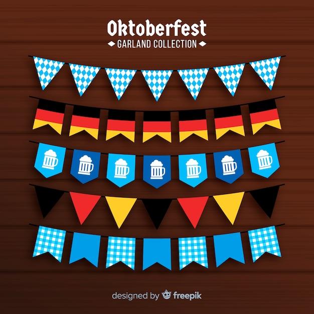 Flat design oktoberfest garland collection Free Vector