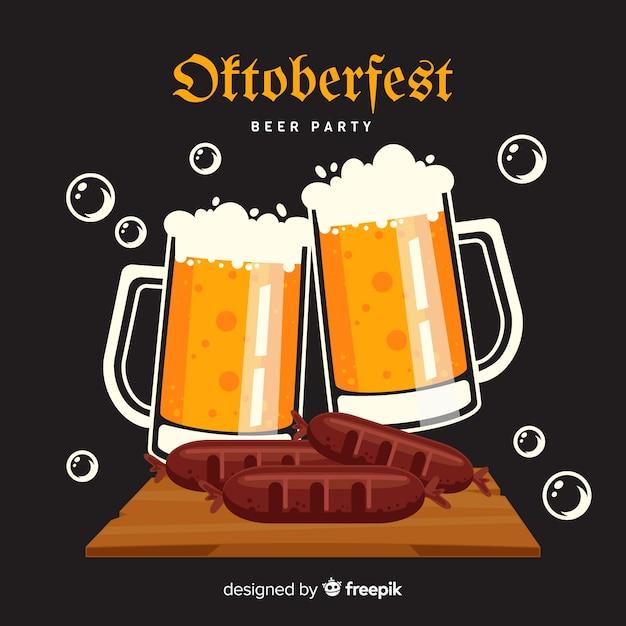 Flat design oktoberfest mugs of beer Free Vector